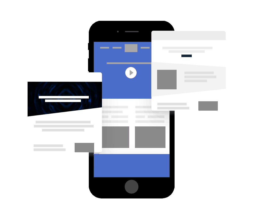animated design of Google Ads remarketing campaign on a mobile device