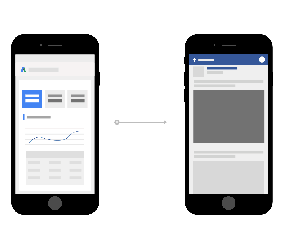 mobile devices displaying both Google Ads and Facebook marketing platforms