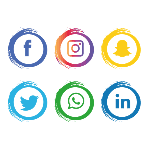 Social media icons of Facebook, Instagram, Snapchat, Twitter, Whatsapp and Linkedin